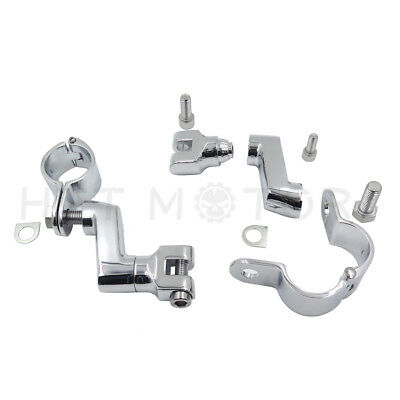 """Chrome Motorcycle 1.5"""" Engine Guard Highway Bar Pegs Foot Peg Mounts Clamp"""