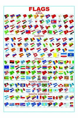 """Multifarious flag of the country Fabric poster 20x13 / 36x24"""" Decor 01"""