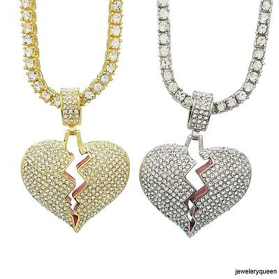 Iced Out Broken Heart Pendant Charm Chain Necklace with Rope or Tennis Chain