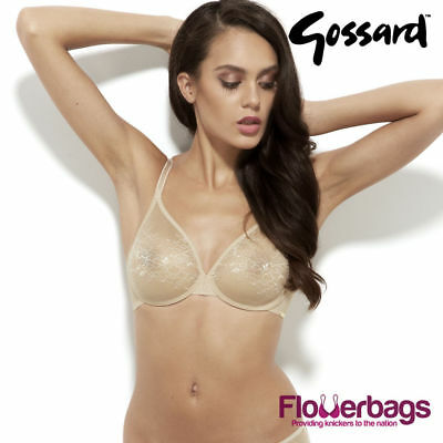 5aa999e1315b0 Gossard 13001 Glossies Lace Sheer Underwired Bra - Nude 32C  NEW