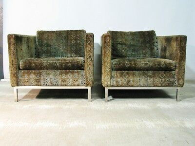 *PAIR* C. 1970 Dux Swedish High Style Contemporary Armchairs; Jack Larsen Fabric