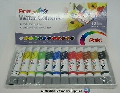 Pentel Arts Water Colour Paint Set 5ml 12/Pack in stock ready to post (I)