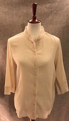 a911b89ef2d47 Lemon Grass Womens Size XL Button Up Shirt Top Blouse Ivory Lace 3 4 Sleeve