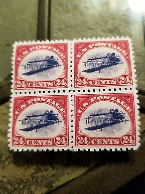 US Stamps #C3a 1918 Inverted Jenny 24C Air Mail Block Stamps Replica/Copy