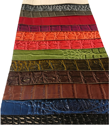BIG NILE CROCODILE 3D Texture Faux Leather Upholstery Vinyl Fabric YARD  ROLLED