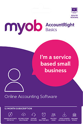 MYOB AccountRight Basics 12 Month Subscription  - Email code Only