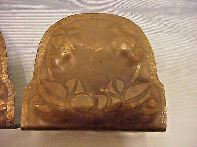 "Early Arts & Crafts Hand Hammered Copper Book Ends Bookends 5"" tall x 5 ½"" wide."