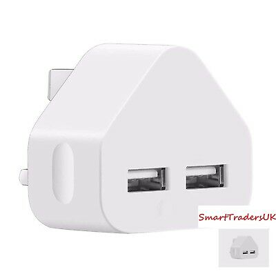 Dual USB Charger UK Mains Wall Plug Travel Adapter 2 AMP iPhone iPad Samsung HTC