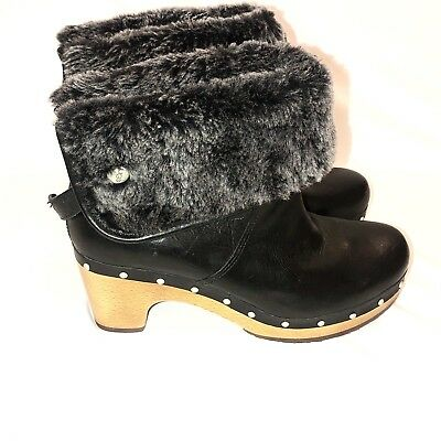 9aceed82ac0 UGG AUSTRALIA LYNNEA Black Clog Leather Boots 6 pre-owned light use