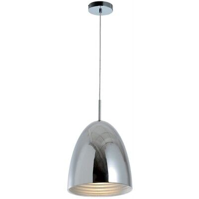 "Paris Prix - Lampe Suspension Design Cloche ""mads"" 30cm Chrome"