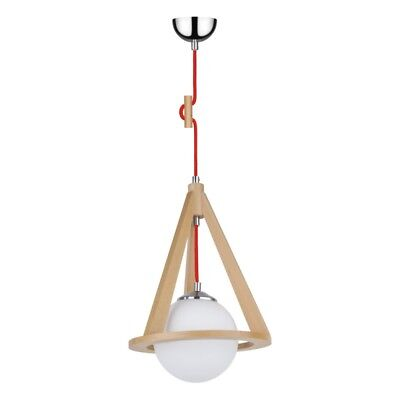 "Paris Prix - Lampe Suspension Globe ""konan Iii"" 100cm Hêtre & Rouge"