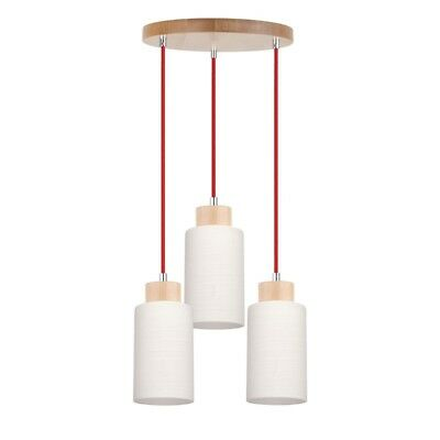 "Paris Prix - Lampe Suspension 3 Têtes ""bosco"" 30cm Bouleau & Rouge"