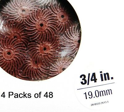 "3M Radial Bristle Discs 220 Grit Red 3M Mini Radial Brushes 3/4"" 4 Packs of 48"