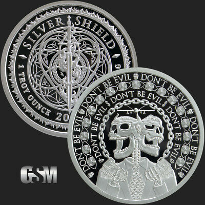 2019 1Oz Don't Be Evil Proof - Silver Shield .999 Pure Mini-Mintage - 623 Minted