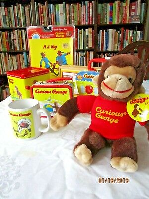 lot of Curious George: 2 Metal Lunchboxes ,plush, , book,cd,mug,puzzles