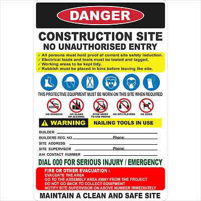 Construction Site Signs -  CONSTRUCTION SITE COMBINATION SIGN (NO LOGO)
