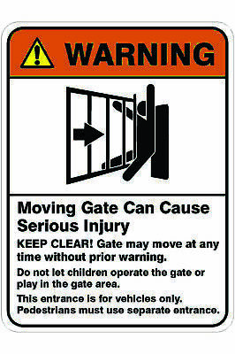 Parking Signs -  MOVING GATE CAN CAUSE SERIOUS INJURY