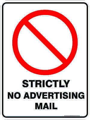 Prohibition Signs -  STRICTLY NO ADVERTISING MAIL