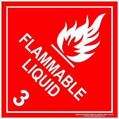 Hazchem Signs -  CLASS 3 - FLAMMABLE LIQUID - WHITE
