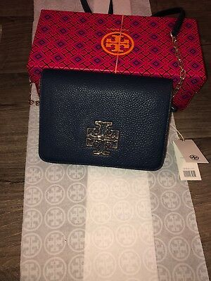 484039dce429 NWT  398 TORY Burch Chelsea Gold Metallic Convertible Leather Clutch ...