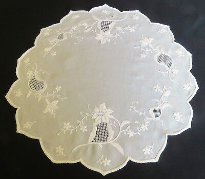Antique Tablecloth Embroidered White Round Table Cover Runner Centerpiece