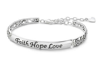 Inspired Moments™ Sterling Silver Faith Hope Love 3 Section Link Bracelet