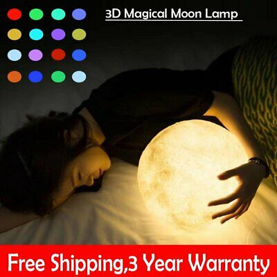 3D Printing Moon Lamp USB LED Night Light Moonlight 16 Color Changing 15-20CM