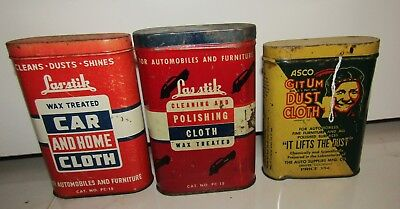 VINTAGE LAS STIK and ASCO DUST POLISHING WAX TREATED CLOTH CAN LOT OF 3