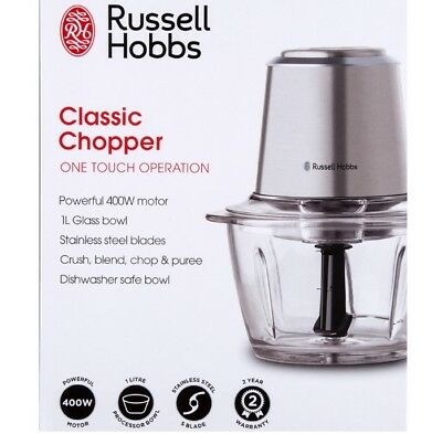 Russell Hobbs Electric Chopper Slicer Food Processor 1 Litre Glass Bowl Kitchen