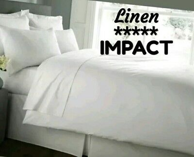 """linen Impact"" Hotel Grade Cotton Rich Double Bed White Luxurious Duvet Cover"