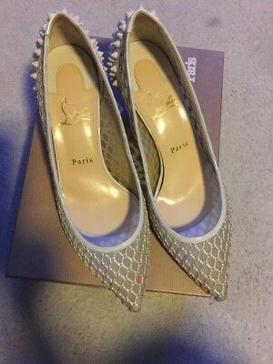 a1842fd2fdfa Christian Louboutin Beige White Ivory Guni Mesh Knot Patent Spiked SIZE 39.5