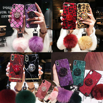 For iPhone XS Max 8 7 S10+ Luxury Bling Diamond Hair Ball Holder Soft Phone Case