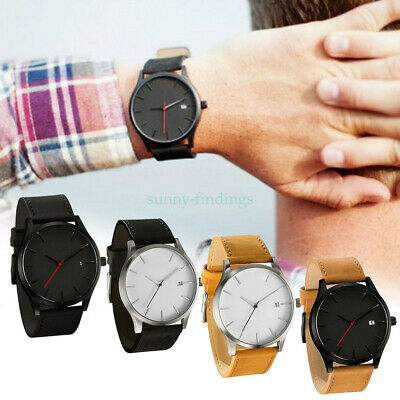 Fashion Men Stainless Steel Sport Watches Leather Band Quartz Analog Wrist Watch
