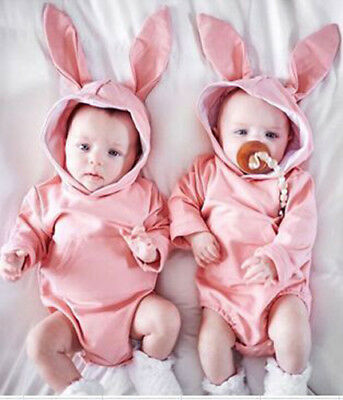 Newborn Baby Girl Boy Rabbit Ear Romper Bodysuit Outfits Hooded Jumpsuit Clothes