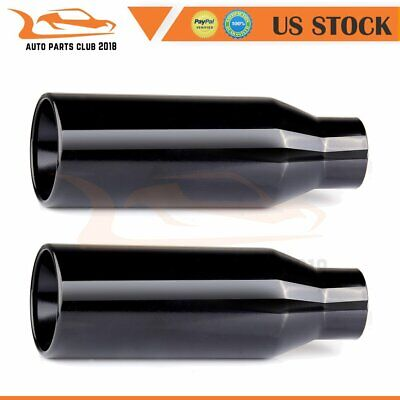 """Stainless Steel Weld On Exhaust Tip 2.5/"""" Inlet  4/"""" Outlet 12/"""" Long Rolled Edge"""