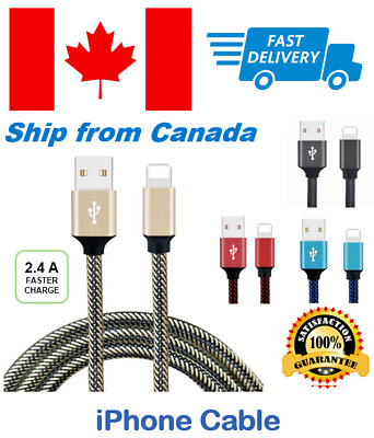 iPhone Cable Charger Nylon Braided Lightning Usb 7 Plus 6 5s 8 Data 6s X 3Ft