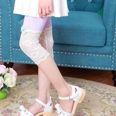 Summer Kids Girls Lace Bow Tight Leggings Cropped Candy Color Capris Pants