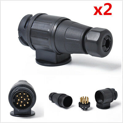 2pc 12V 13-Pin Trailer Plug Adapter Plastic 13-Pole Trailer Electrical Connector