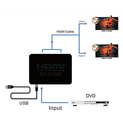 HDMI V1.4 Splitter 1 in 2 out Amplifier Duplicator Cable 4K HD 3D for DVD PS4 X1