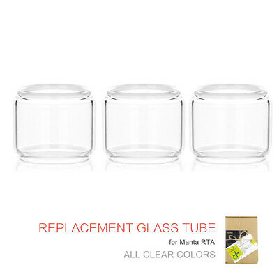 3xpc Glass Replacement For ADVKEN Manta RTA Glass Tube 5ML Clear Colors