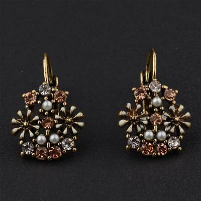 New Fashion Vintage Boho Style Flowers Hoop Plated Colorful Crystal Earrings