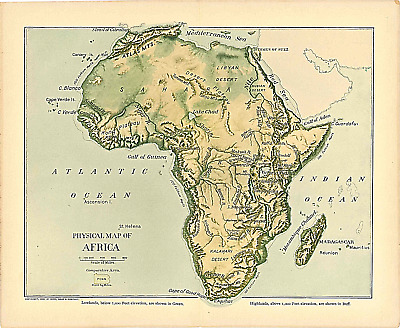 """Original 1903 Antique Map Africa Dodd Mead & Co.Collectible 12"""" X 10"""""""
