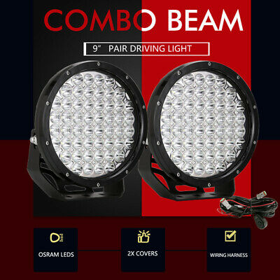 Pair 9 inch CREE LED Driving Lights Spot Round Black Spotlights 4x4 OffRoad 7D