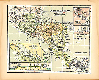 "Original 1903 Antique Map Central America Dodd Mead & Co.Collectible 12"" X 10"""