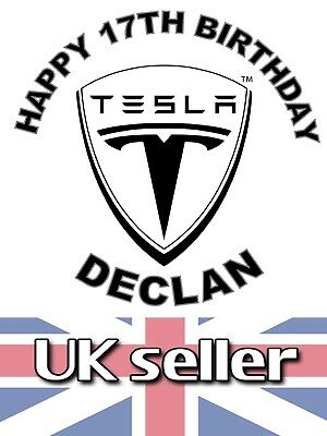 #01OT TESLA edible,personalised,wafer,icing,precut,uncut,ribbon,cake,toppers