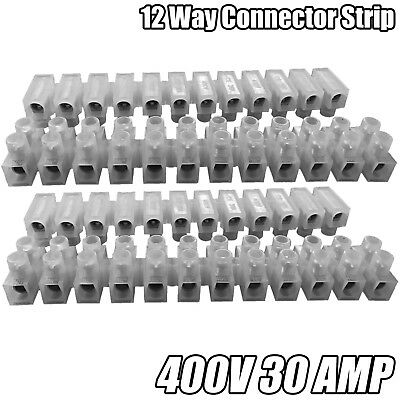 12 Way Connector Strip Choc Block Terminal 30Amp Electrical Connection Flat Head