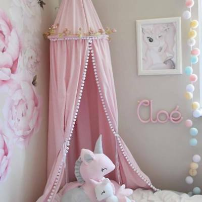 Cotton Hanging Dome Mosquito Net Bed Canopy with Pompom Ornament Kids Room Decor
