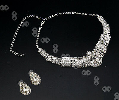 Wedding Silver Diamante Crystal Water Drop Necklace Earrings Set Jewelry Prom