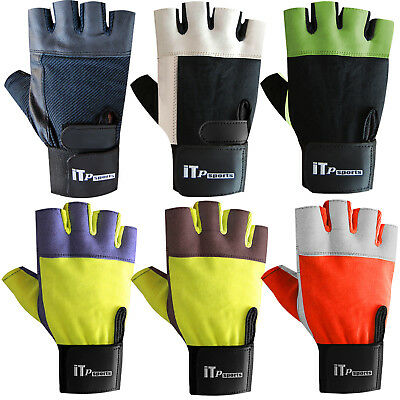 Mens Weight Lifting Gloves Gym Training Body Building Gloves Long Straps