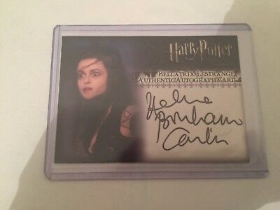 Harry Potter autograph, Bellatrix Lestrange, helen broham carter card